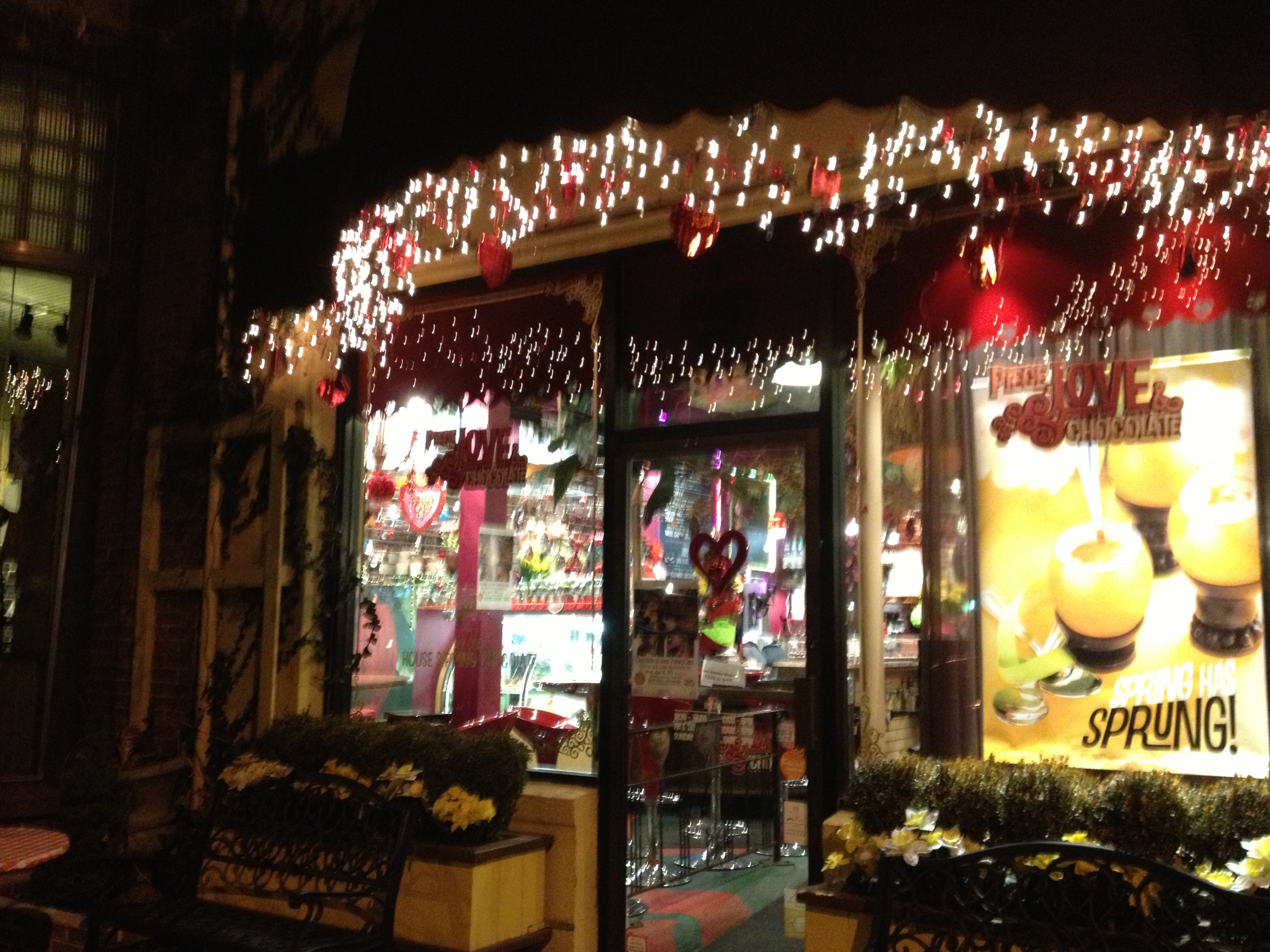 The outside of this adorable place...hard to see but they have little tables and chairs to sit at
