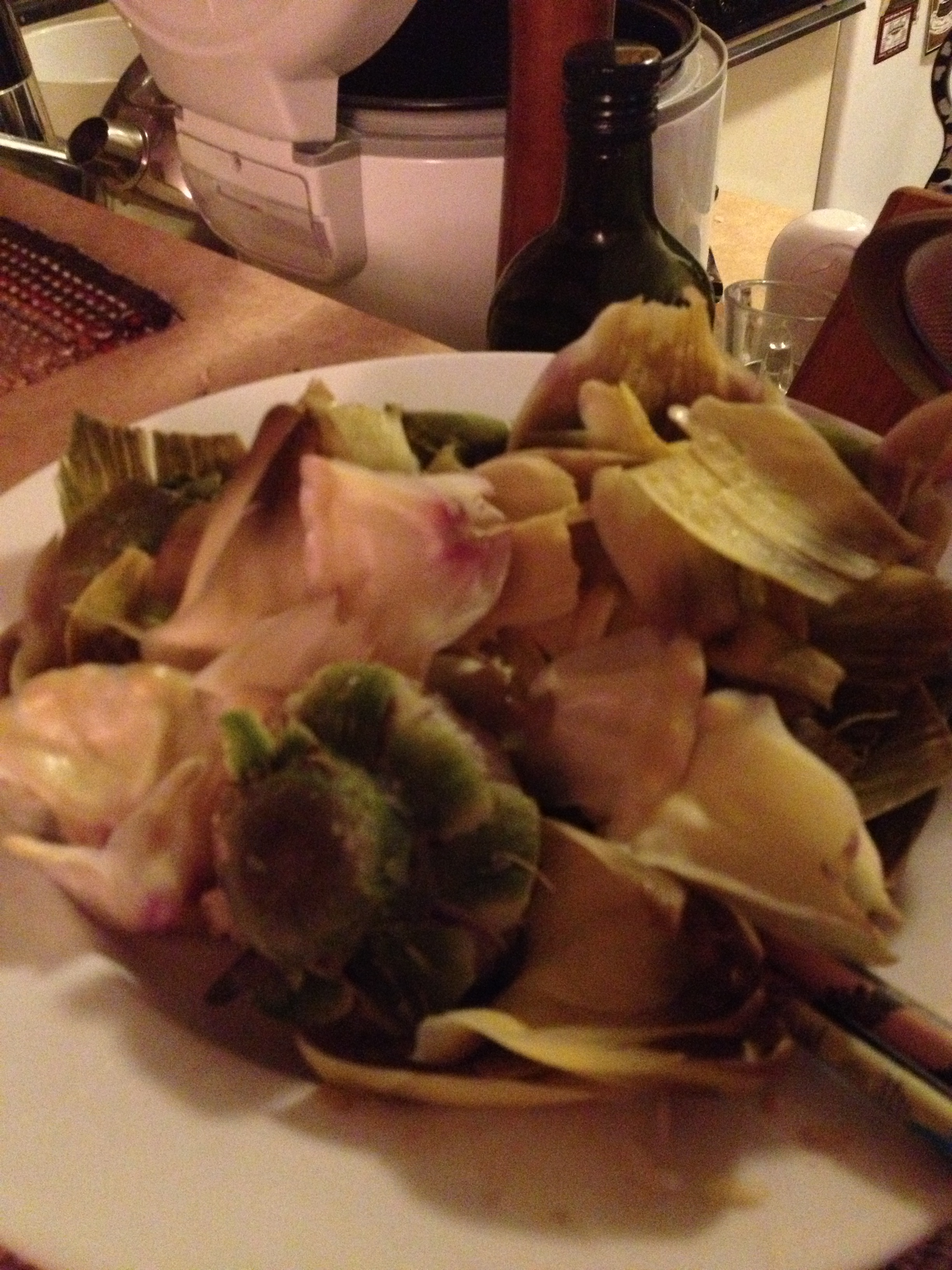 The remnants of my artichoke feast