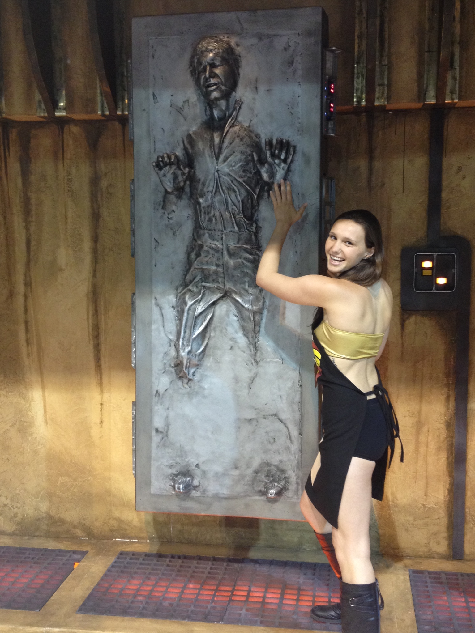 Here is Fit posing with Han Solo trapped in carbonite. Damn you Lando for selling him out to Vader and Boba Fett. This was a part of the Far Away Creations area where a group of Star Wars fans provided models and replicas of the original trilogy. Lots of fun.