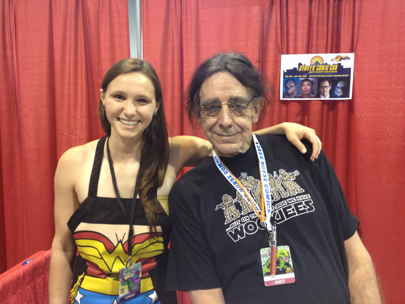 Alana with Peter Mayhew (who played Chewbacca) --she can't contain her happiness here