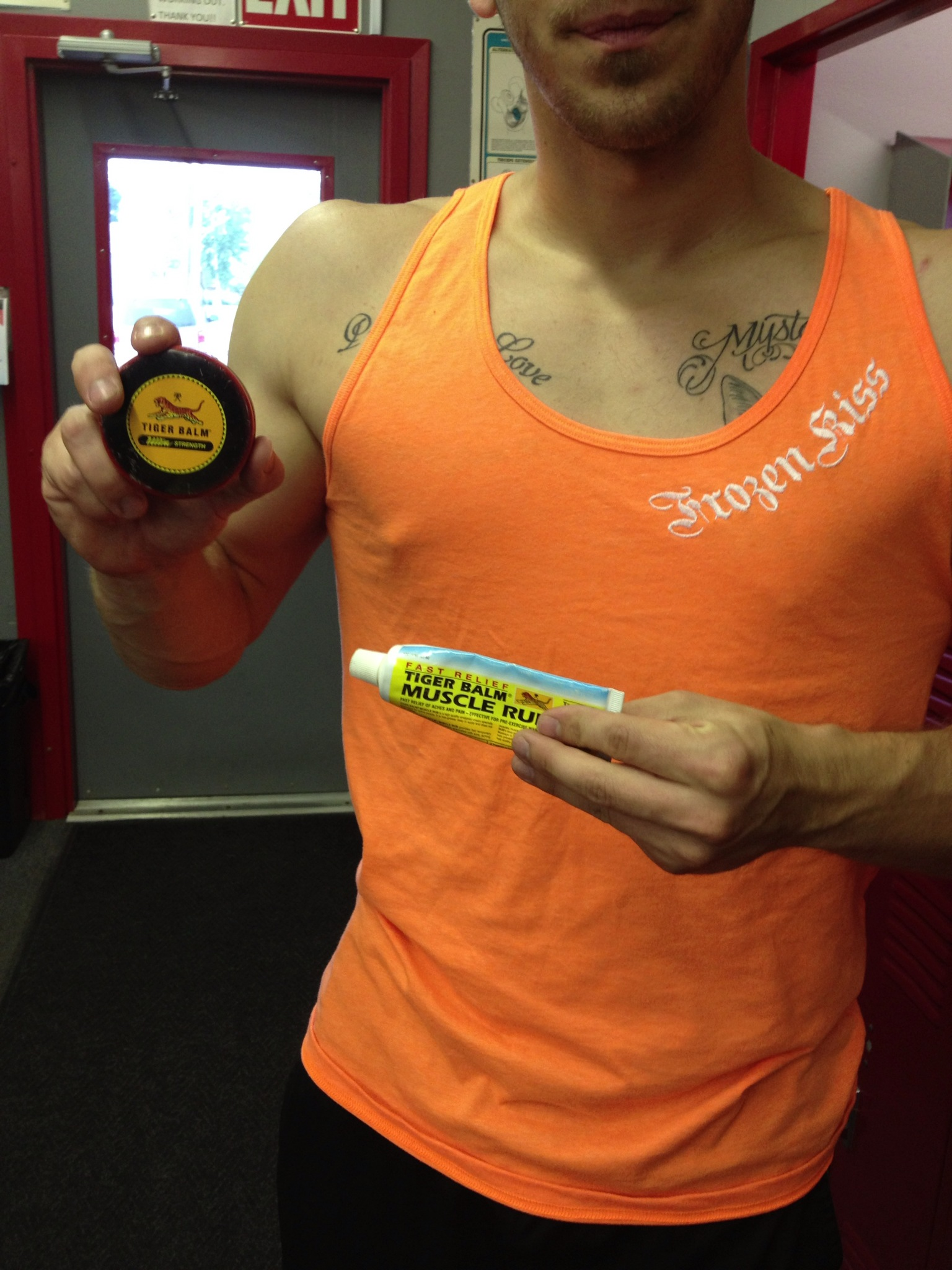Sporting the tank with some tiger balm for pre-workout