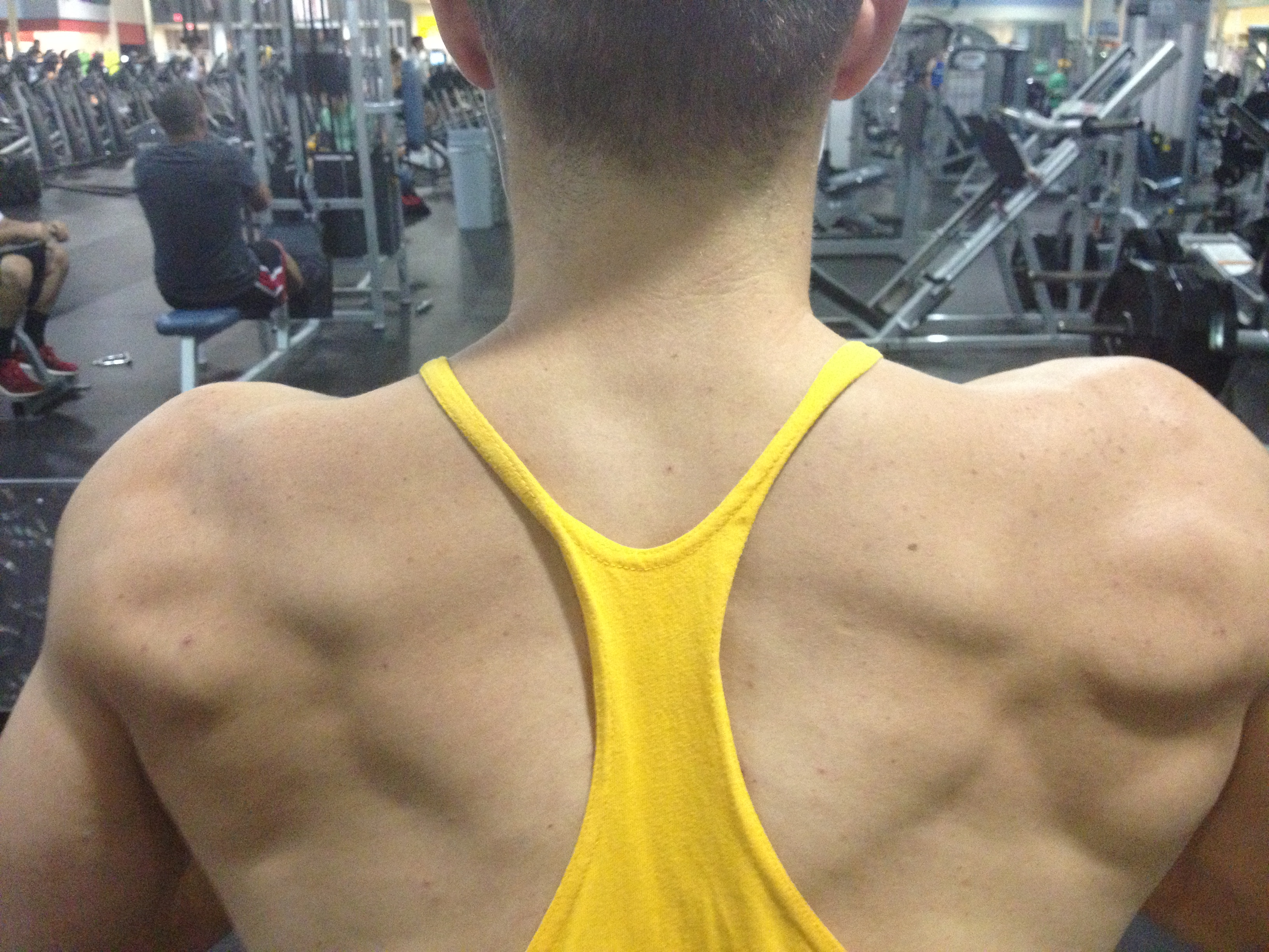 Creep shot of Chris' back from last night's workout...spoiler: he's not doing a back exercise