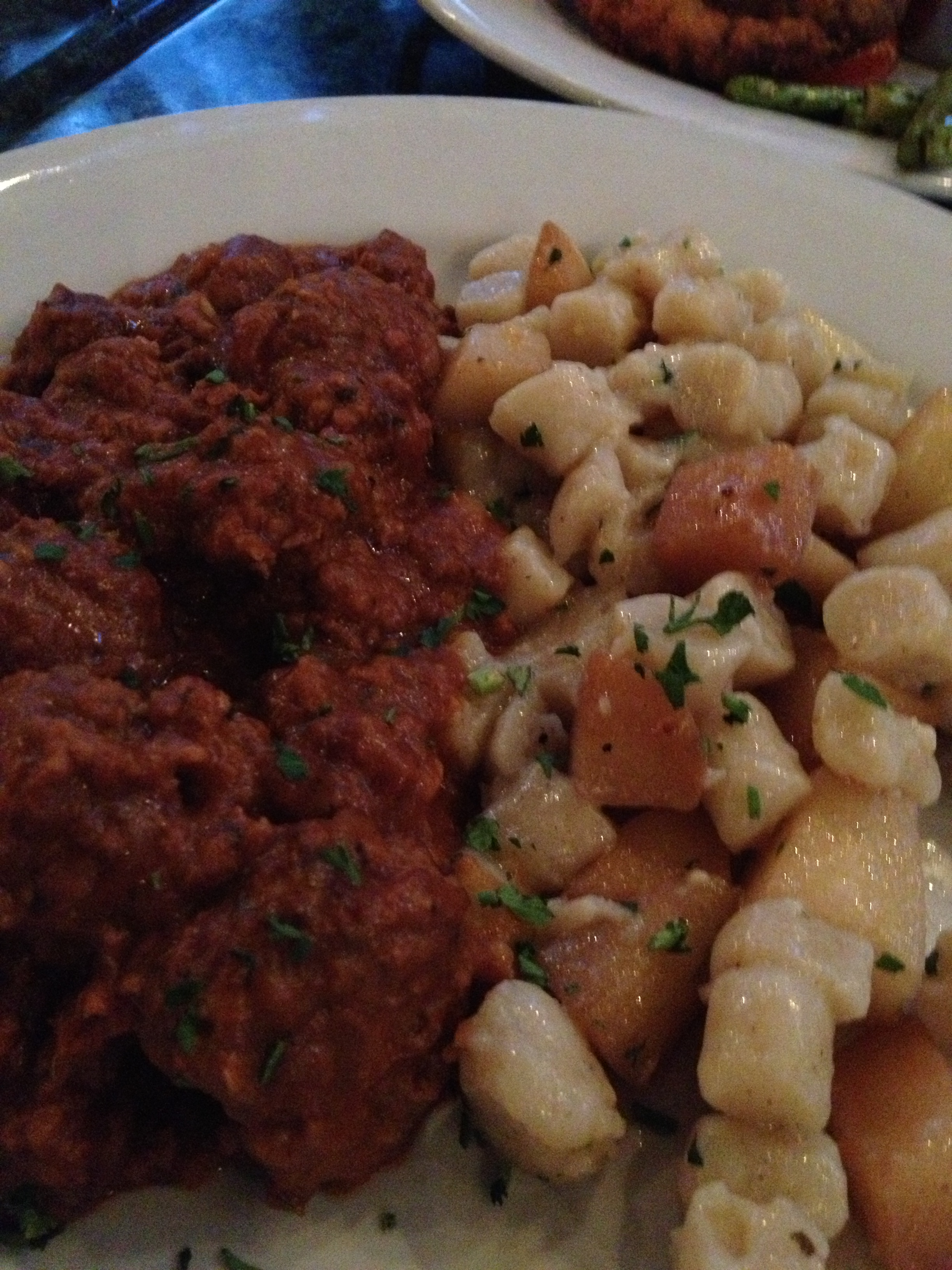 Wild boar meatballs with gnocchi