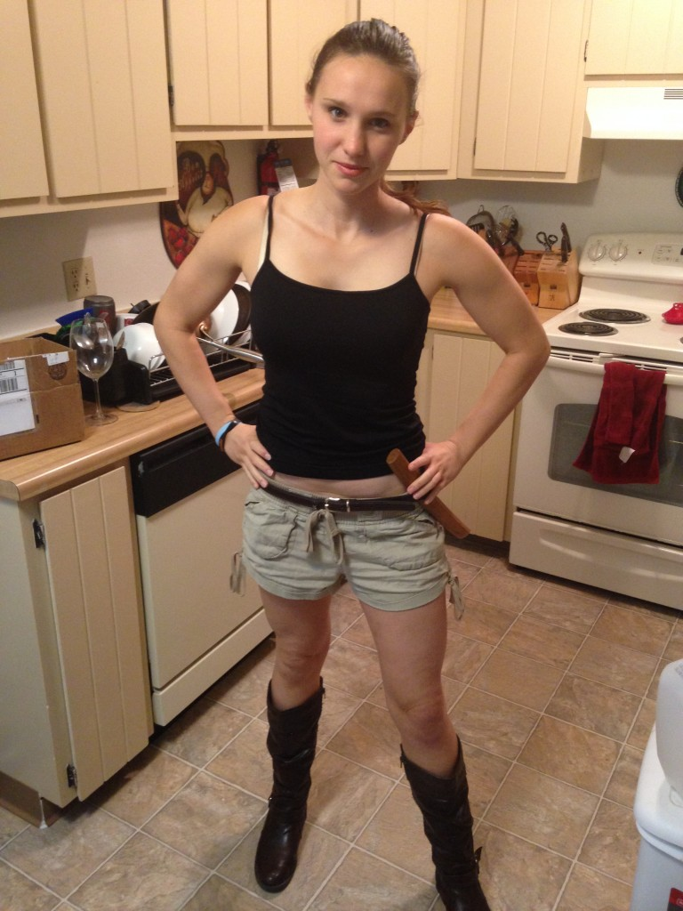 Alana as Lara Croft from Tomb Raider for Halloween...always trying to improve for strength and agility!