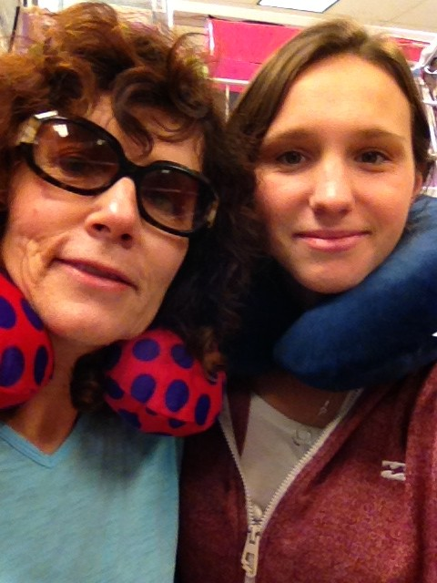 Mum and I with travel pillows