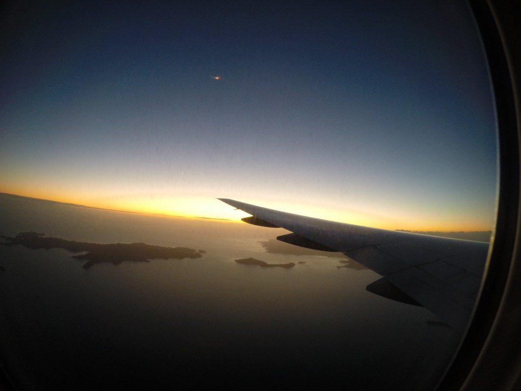 View from inside the airplane just getting into New Zealand