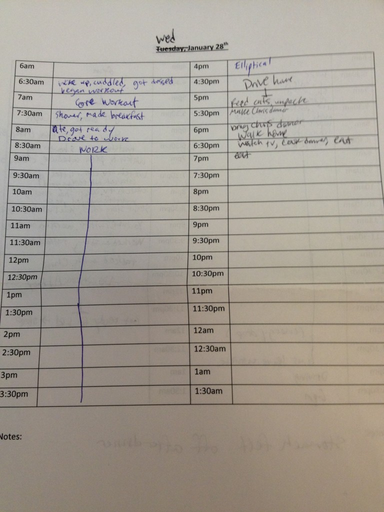 My intolerable written-out schedule for Wednesday as I was writing this