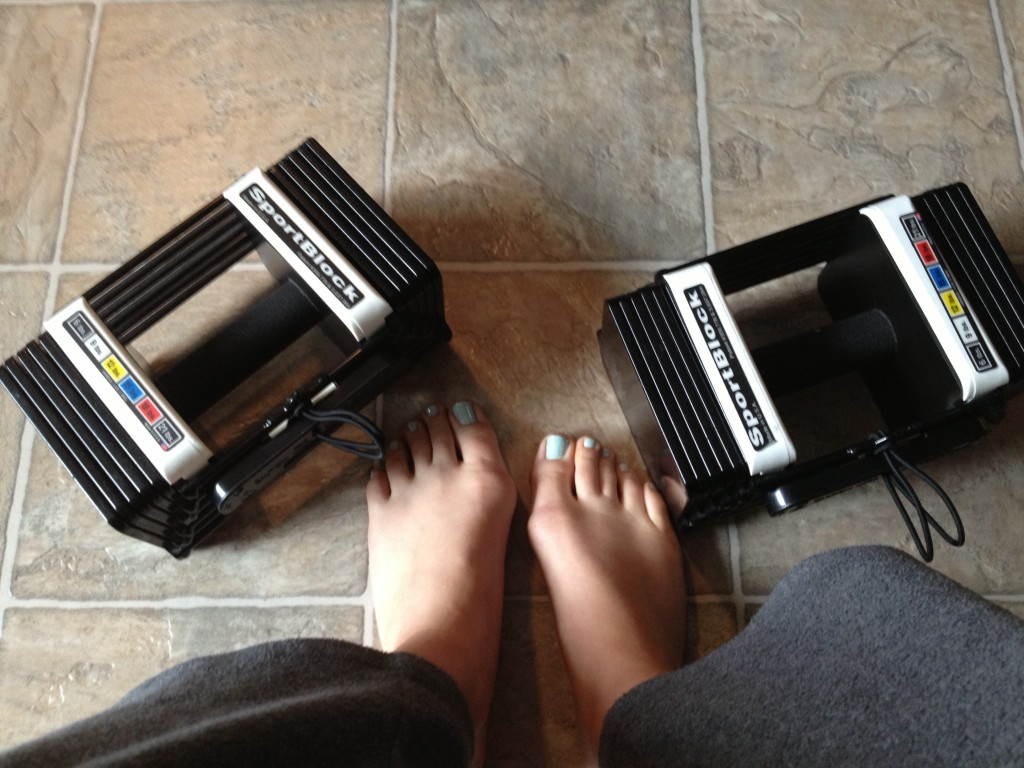Home workout and a pedicure