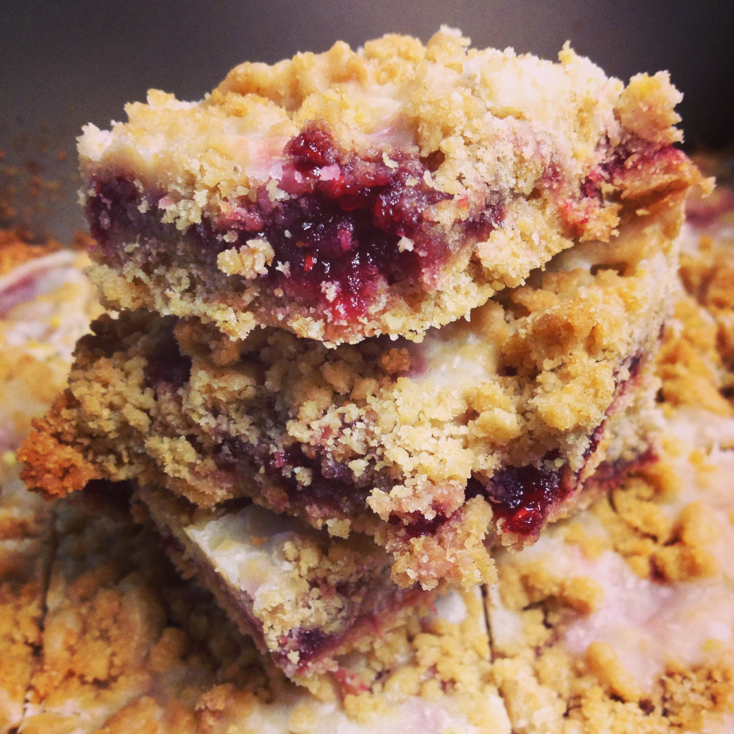 Raspberry Crumb Bars with Lemon Glaze - hungry and fit