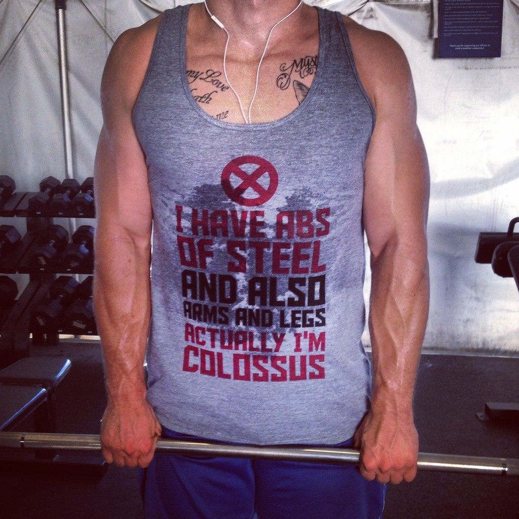 Awesome shoulder workout together with his new shirt