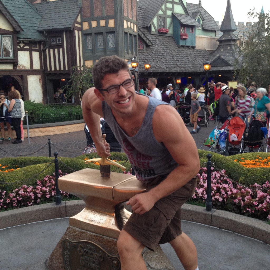 Trying to pull the Sword in the Stone!