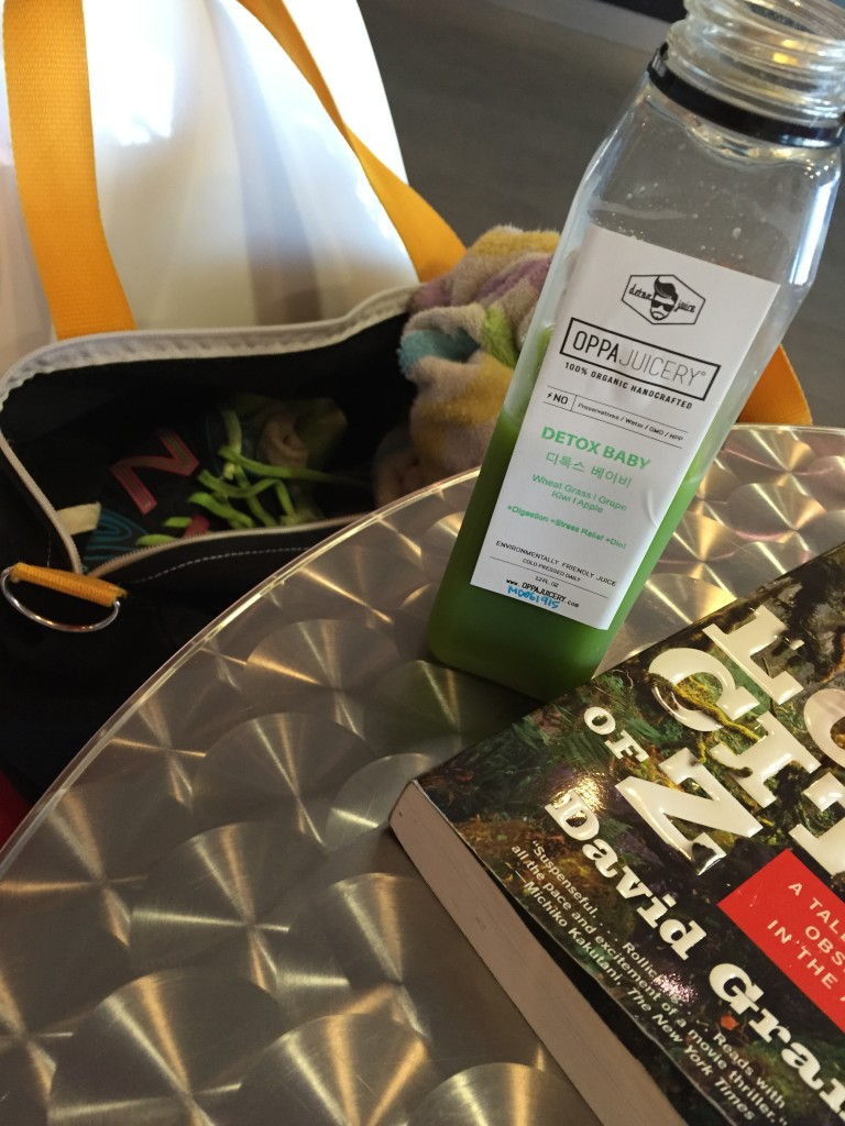Juice, reading, and gym