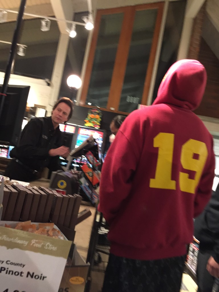 Okay so the hoodie guy got in my way, but in front of him across from the cashier is BILLY DEE WILLIAMS (Lando). You can see his head!
