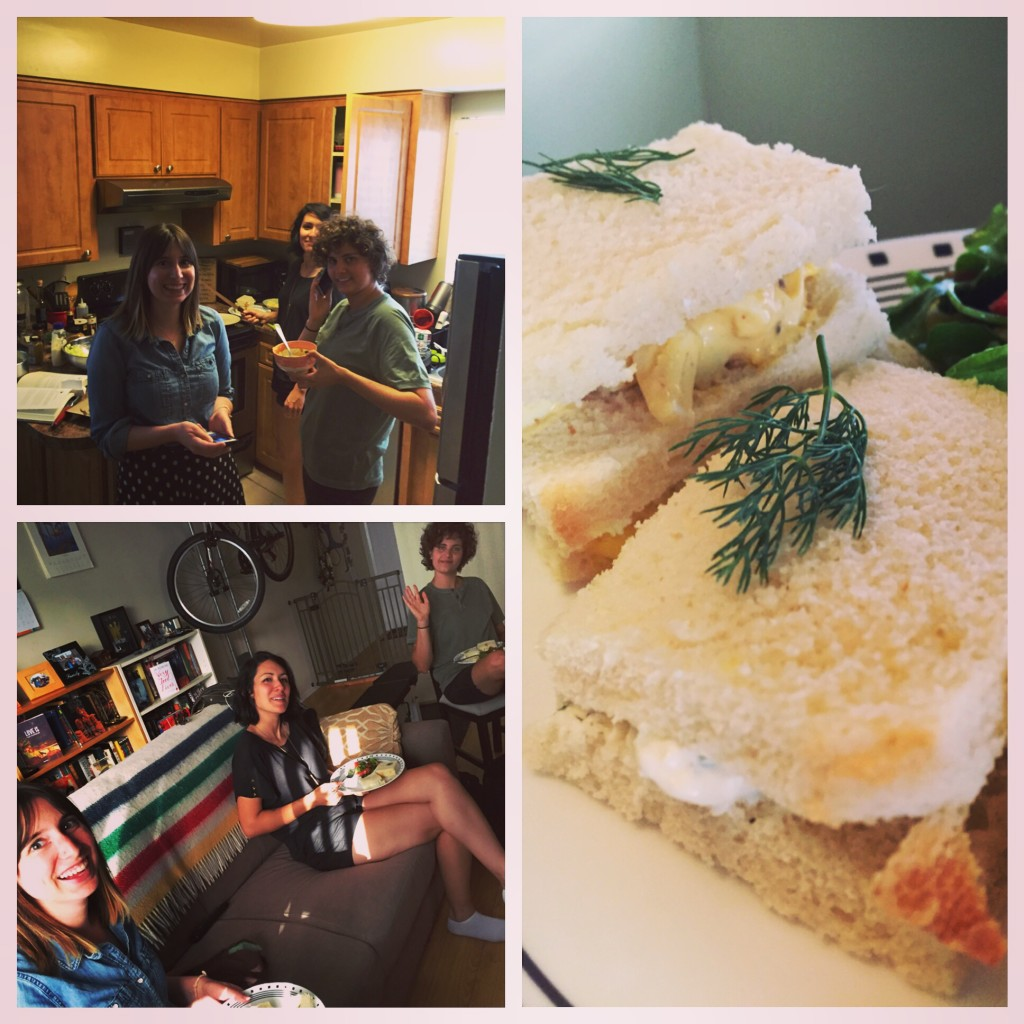 "Back to phone photos...had a little ""Downton Abbey"" get-together with friends where we made little sandwiches and pie"