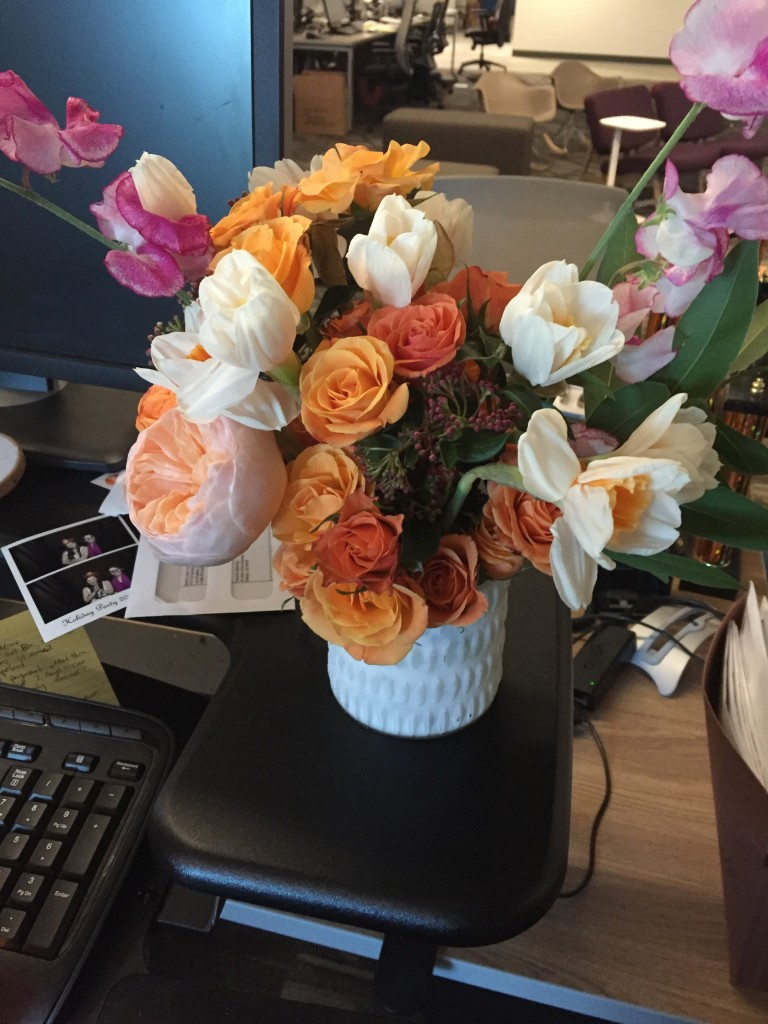 Valentine's Day was special--starting off with Sibyl Sophia Floral Design flowers, delivered to me at work!